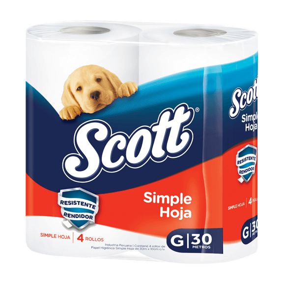 scott simple hoja g 4 rollos pack azul y naranja 30 metros